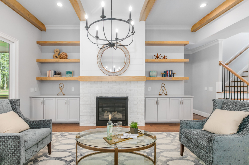 large kitchen with center island surrounded by bar stools