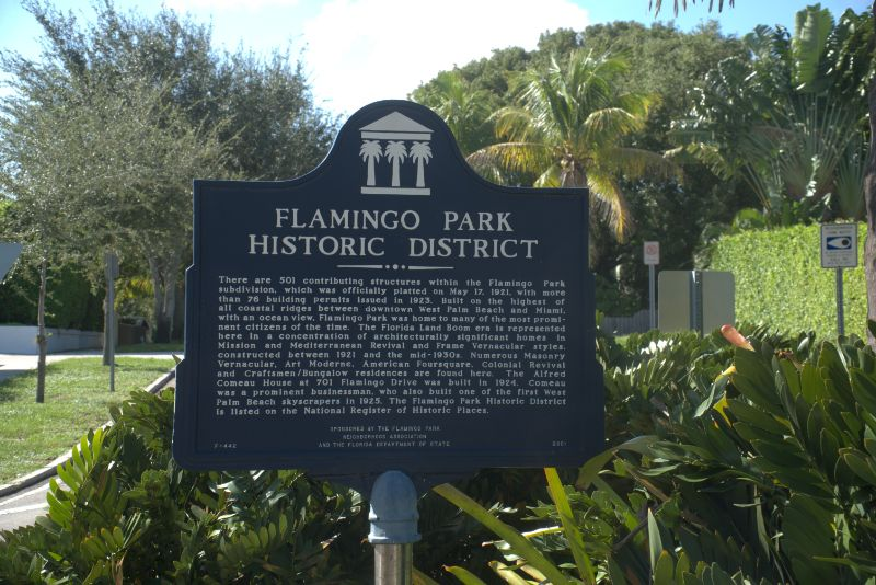 flamingo park history sign on post