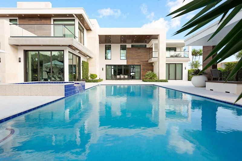 large pool along modern house