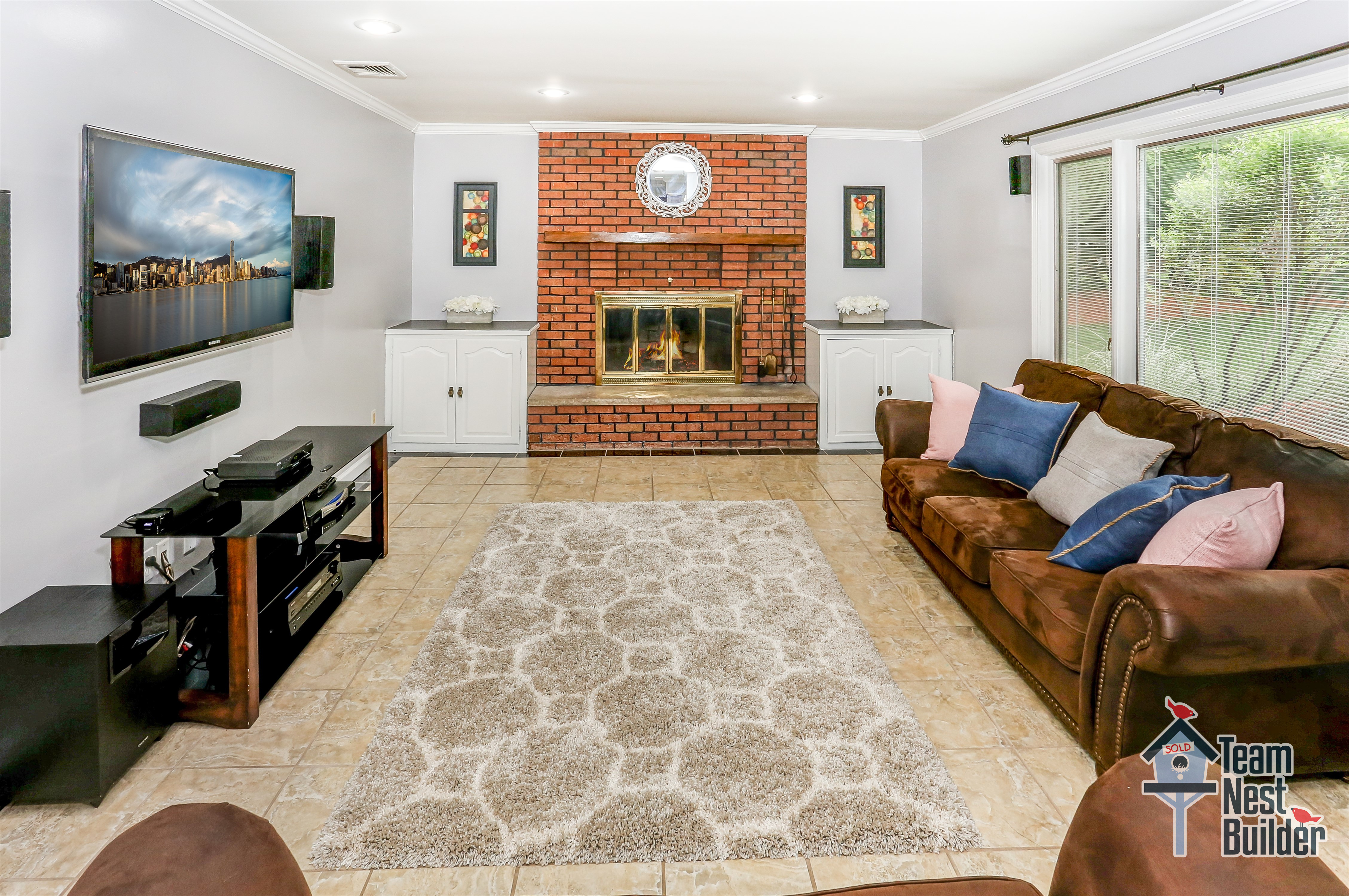 Cozy up in this family room