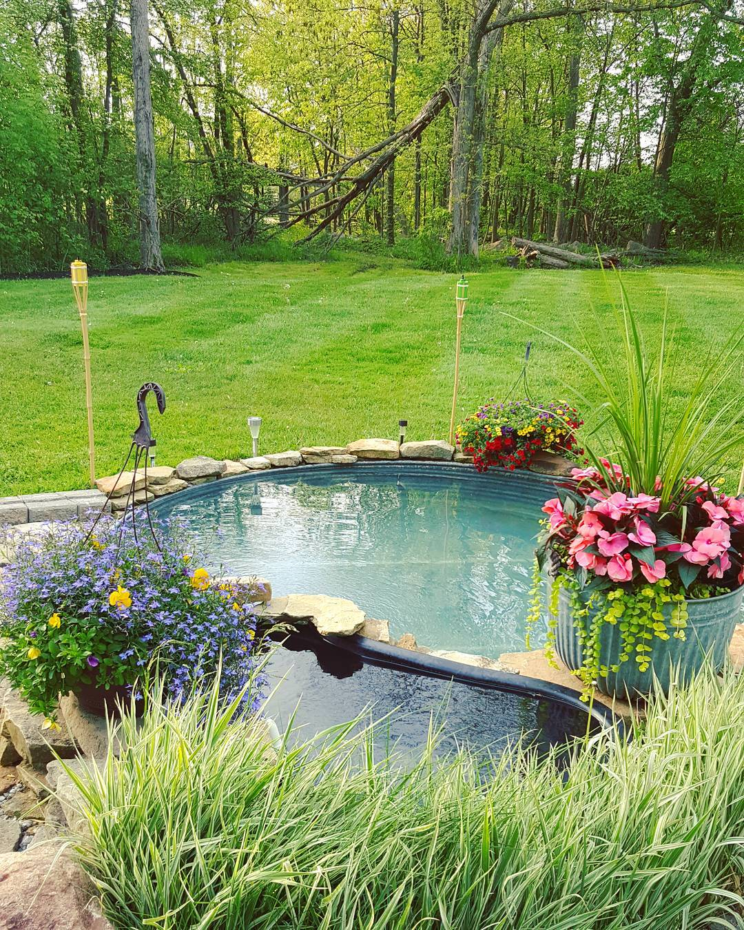 Adding a nashville backyard oasis with a stock tank pool for How to make a pool out of a stock tank