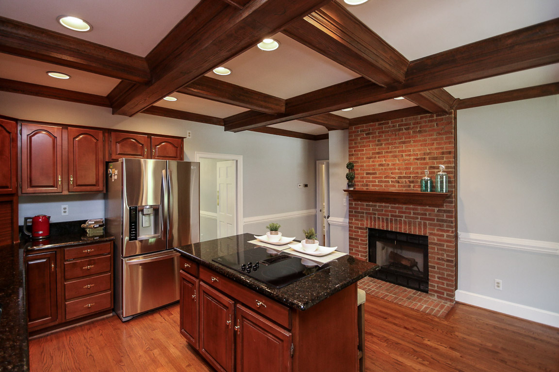 This kitchen has a fireplace!