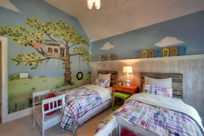 Treehouse with Flag & Roope Swing Mural - Lisa Birdsong