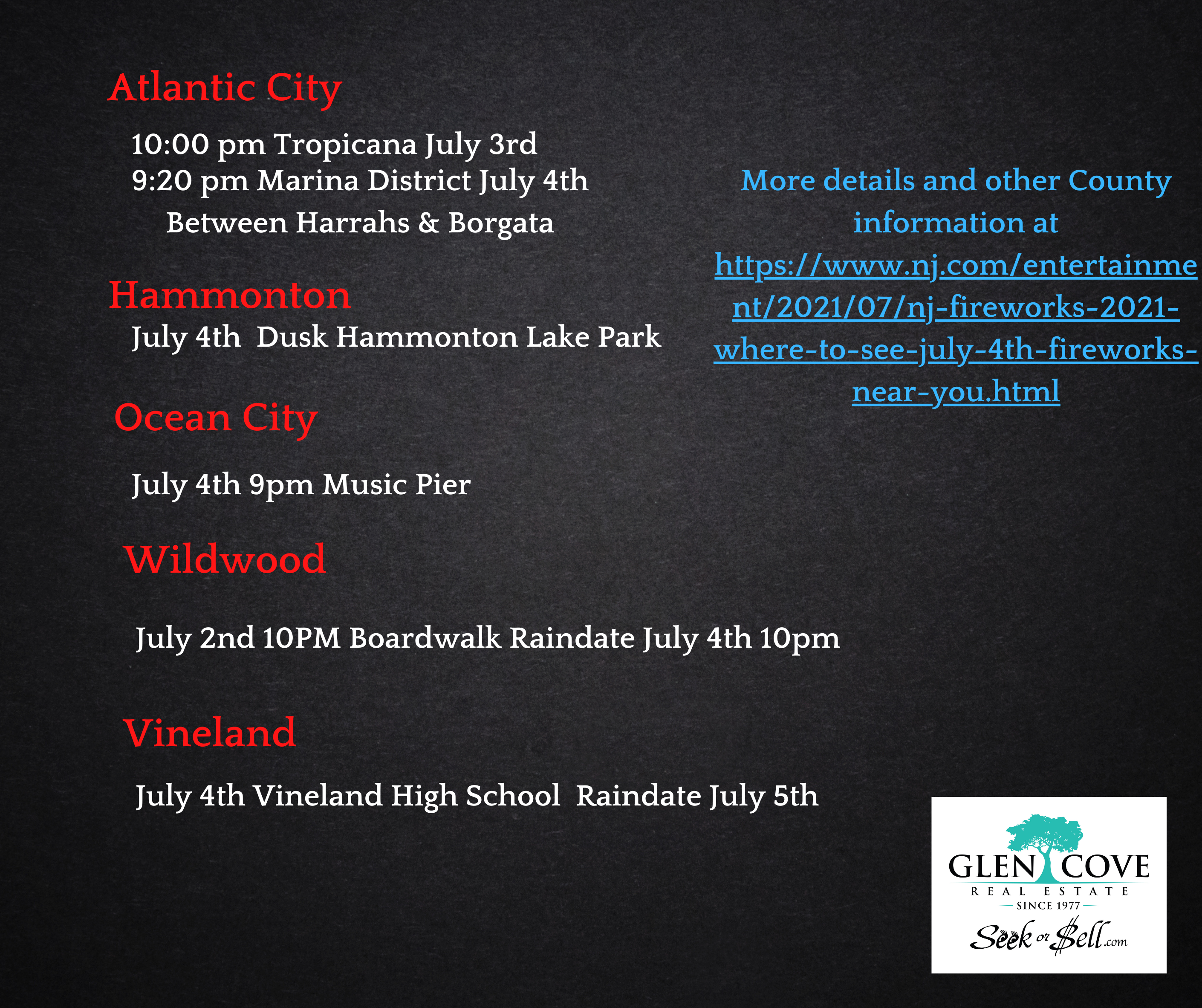 Locations for Fireworks Displays in Atlantic & Cape May County