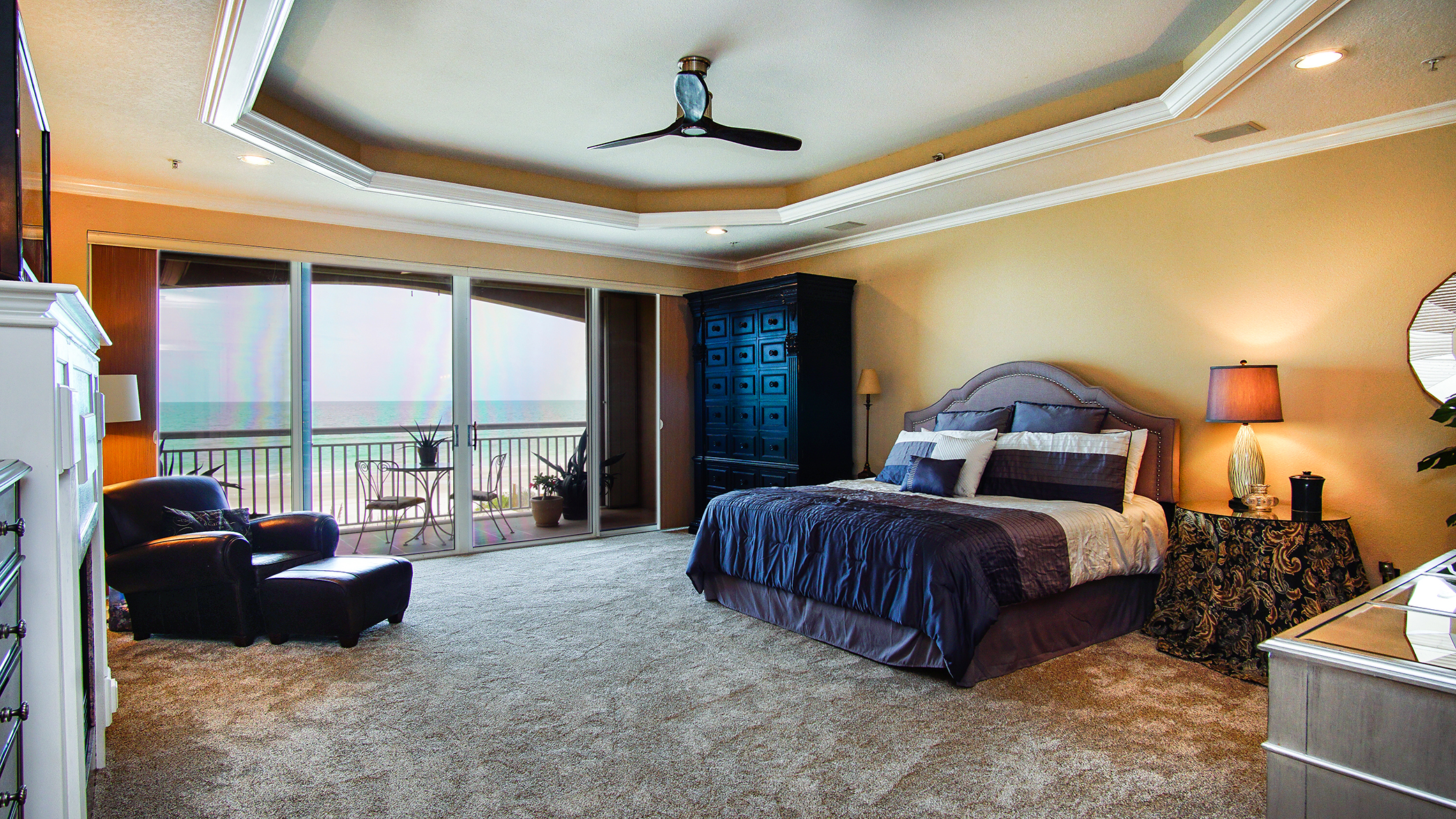 Spacious master suite with stunning beach views