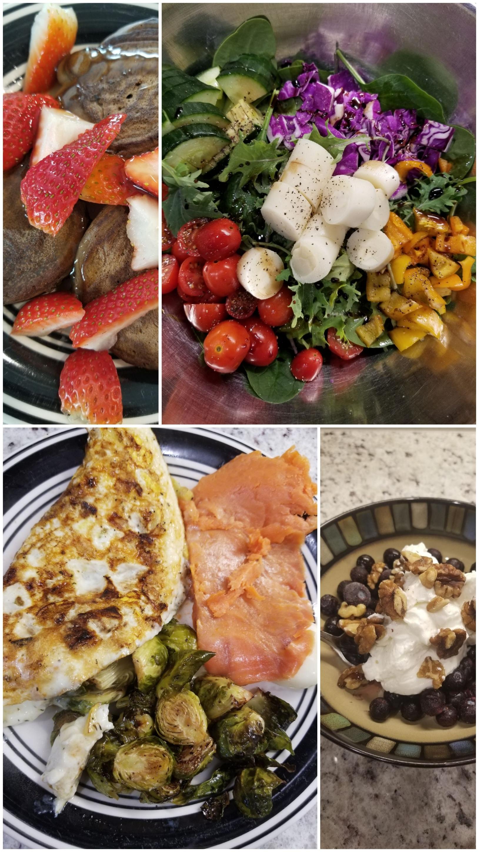 Protein pancakes, salad, omelette, yogurt
