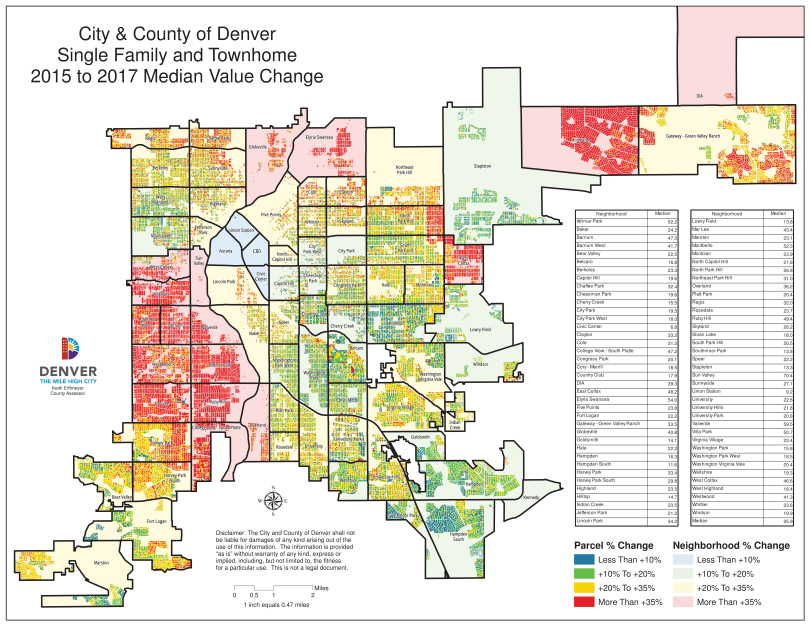 AssessorThe map of property valuation increases released by Denver..