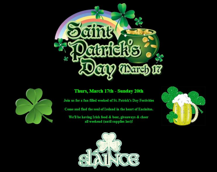 Click for more St Patrick's Day info at Encinitas Ale House