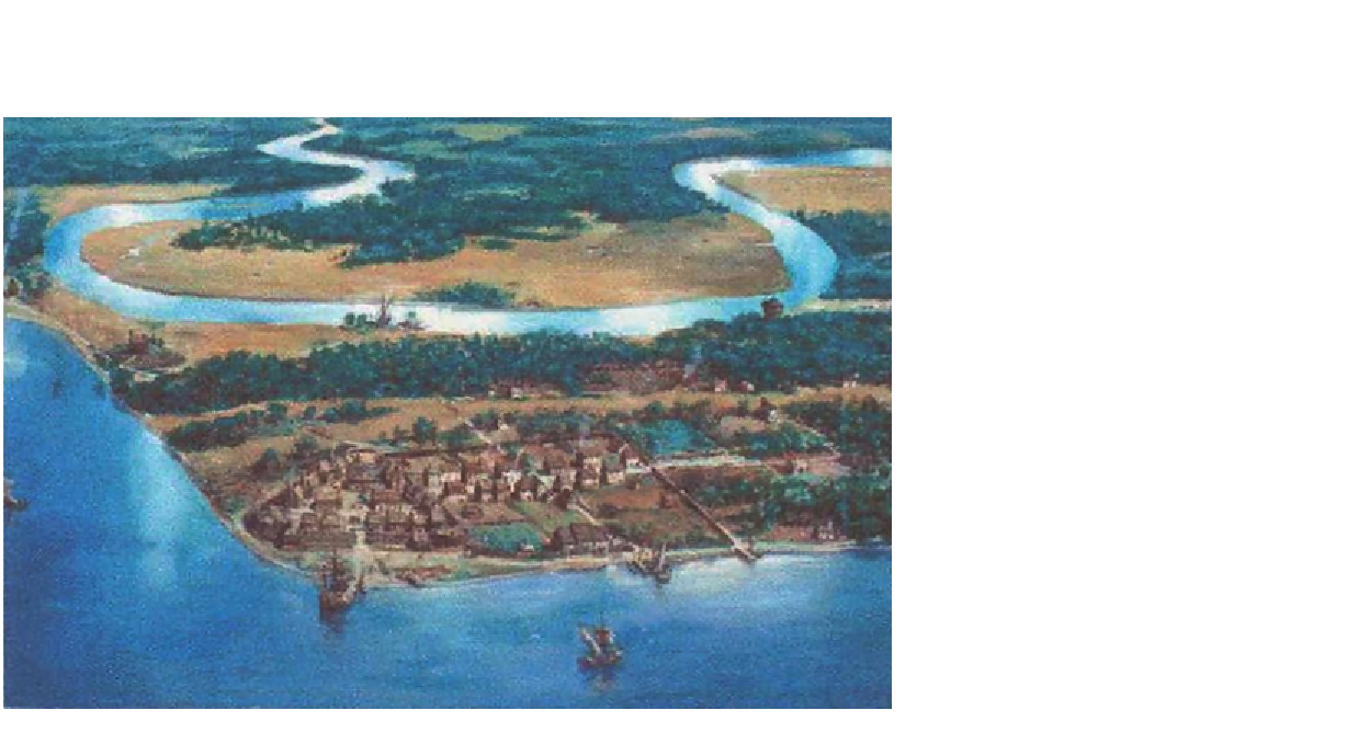 17th-century Jamestown by National Park Service artist Sydney King